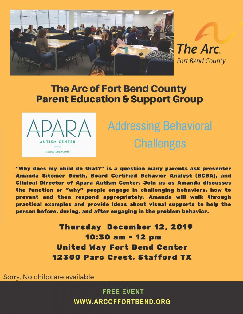 Addressing Behavioral Changes Flyer Apara Autism Presents!  The Arc of Fort Bend County
